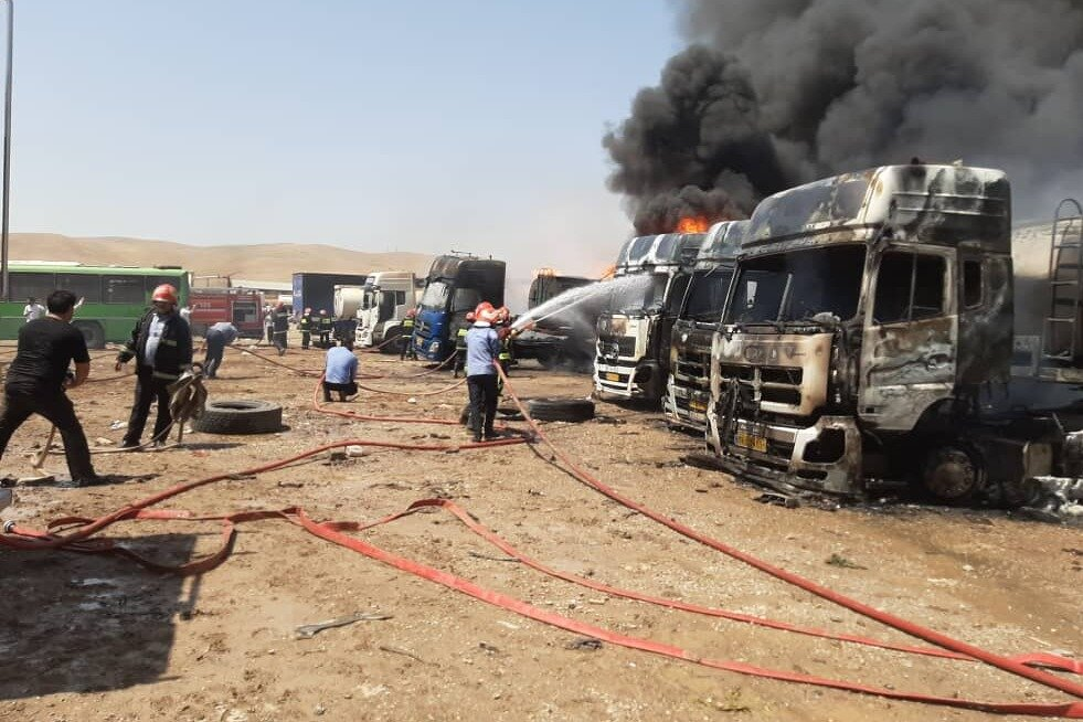 انفجار در پارکینگ خودروهای ترانزیت سوخت کرمانشاه