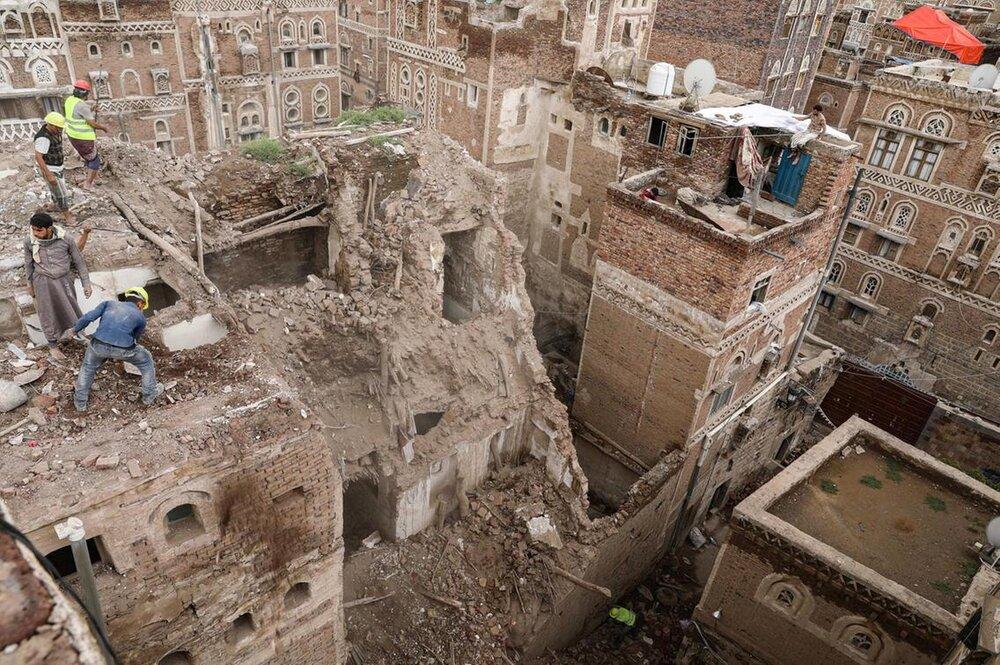 تخریب خانه های قدیمی صنعا بر اثر بارش باران