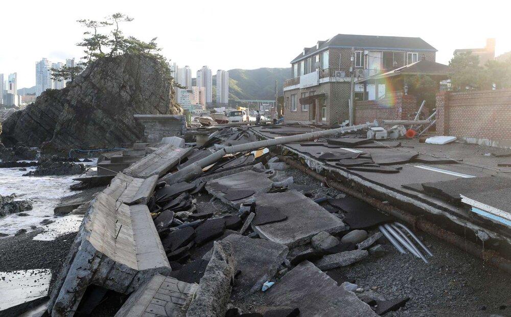 خسارات طوفان هایشن در ژاپن و کره جنوبی