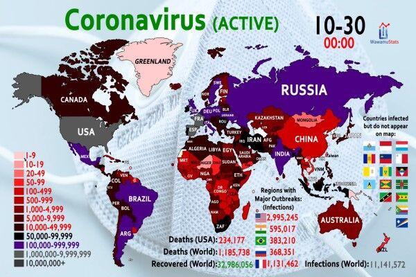 ویروس کرونا و ۴۵ میلیون مبتلا در جهان