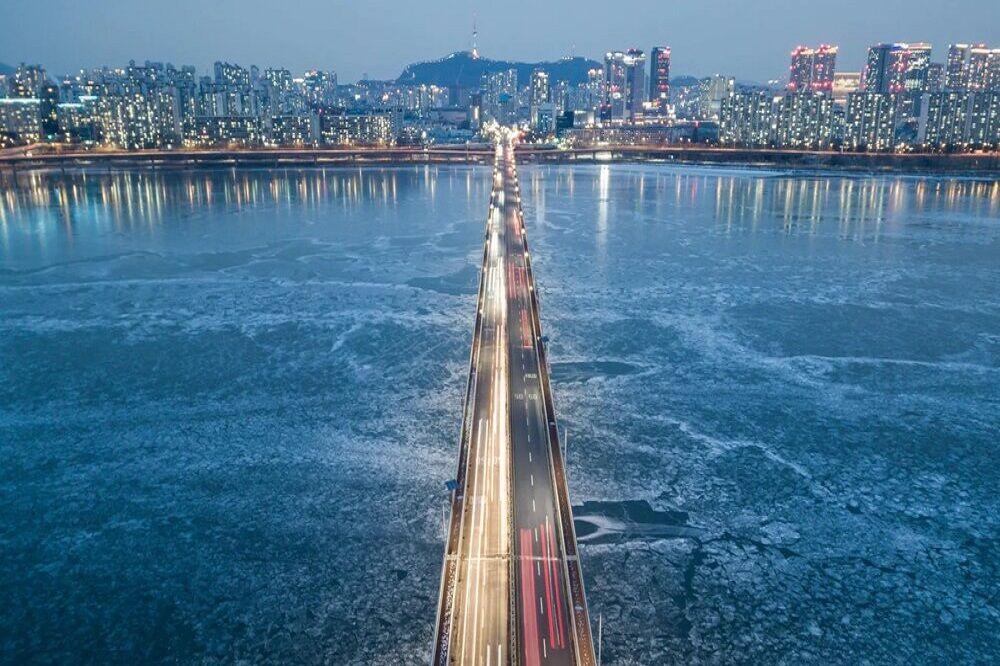 یخ زدن رودخانه «هان» در کره جنوبی