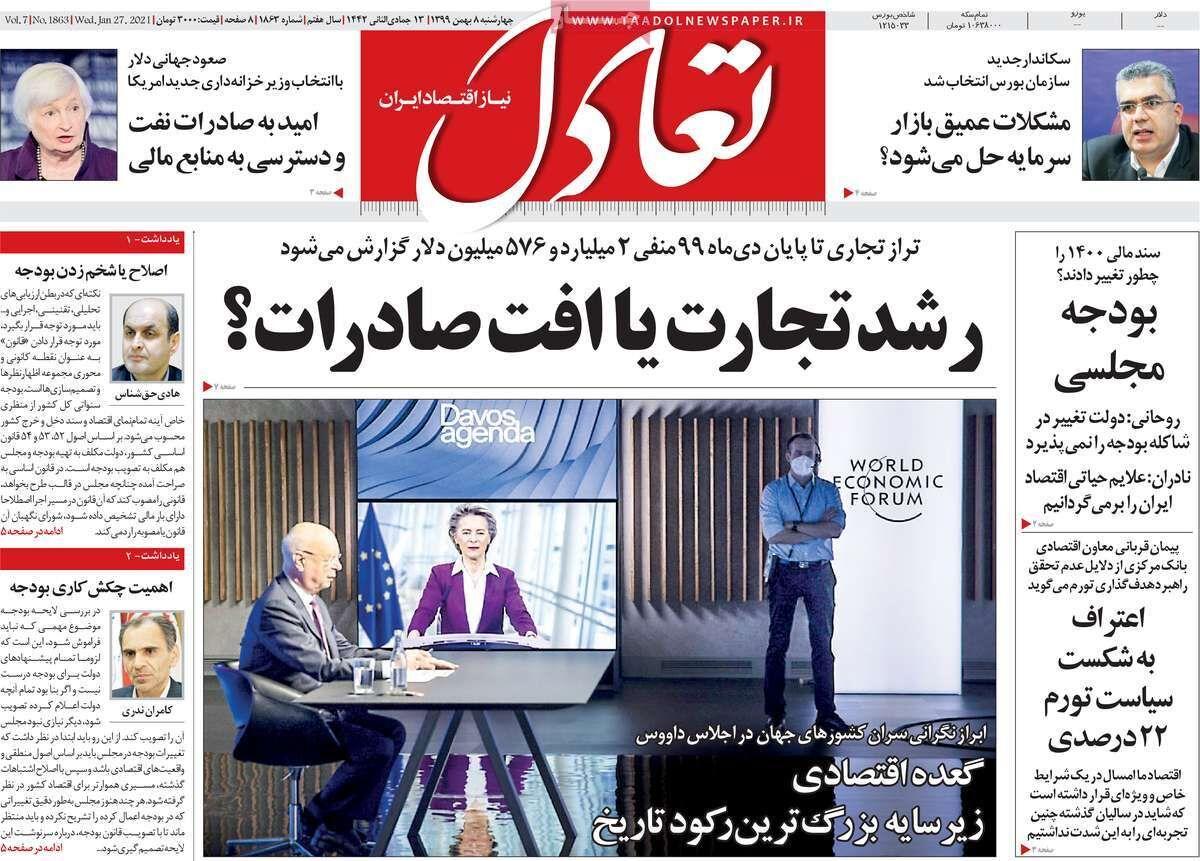 صفحه اول روزنامه های اقتصادی ۸ بهمن ۱۳۹۹