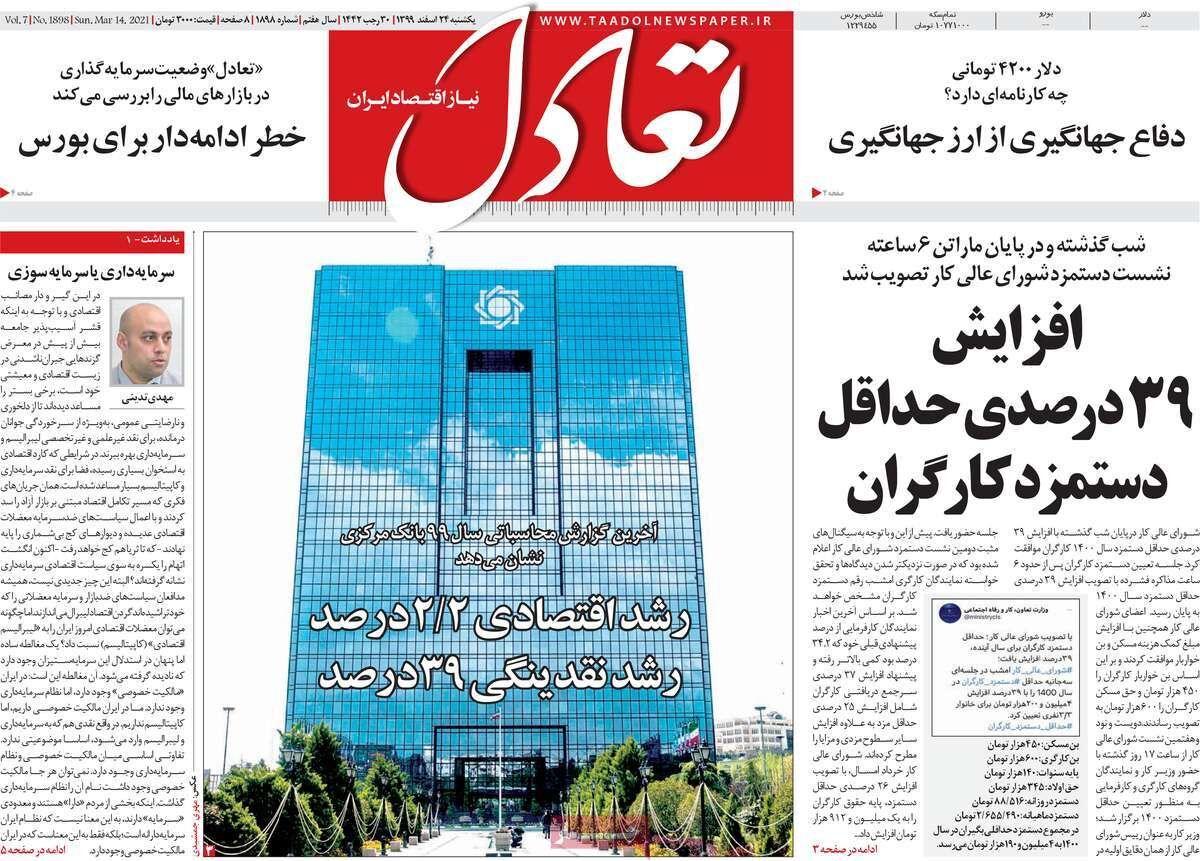 صفحه اول روزنامه های اقتصادی ۲۴ اسفند ۱۳۹۹