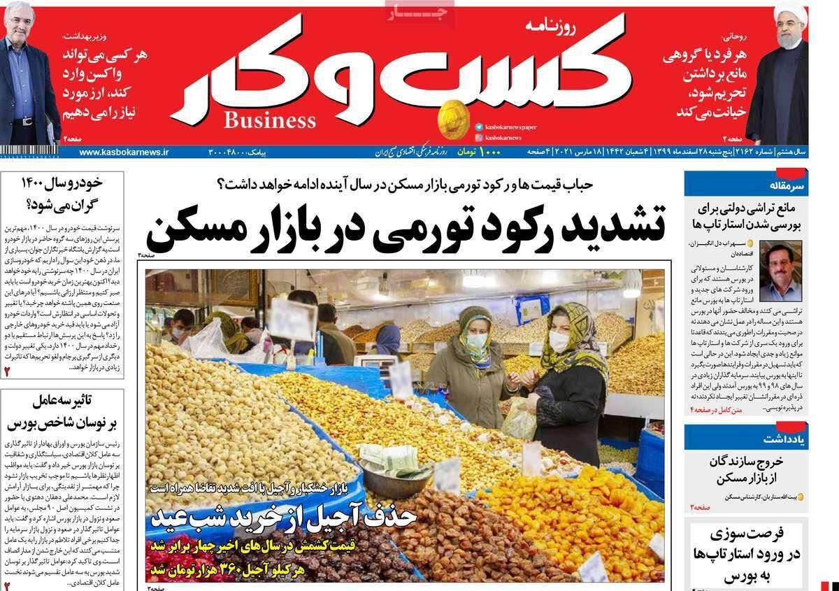 صفحه اول روزنامه های اقتصادی ۲۸ اسفند ۱۳۹۹