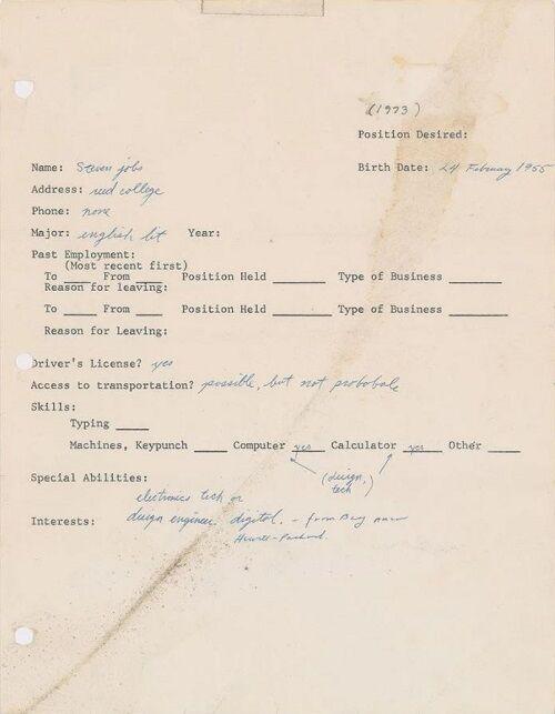 فروش فرم درخواست شغل استیو جابز با قیمت ۲۲۲ هزار دلار