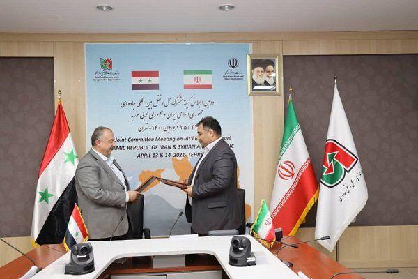 امضای سند توافقنامه اجلاس کمیته مشترک همکاریهای حمل و نقل جادهای ایران و سوریه