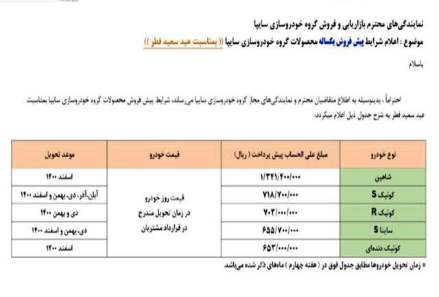 پیش فروش محصولات سایپا ویژه عید سعید فطر