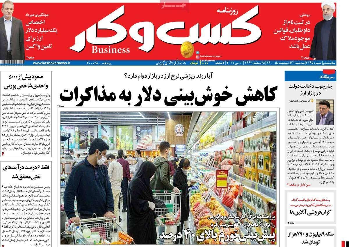 صفحه اول روزنامه های اقتصادی ۲۱ اردیبهشت ۱۴۰۰