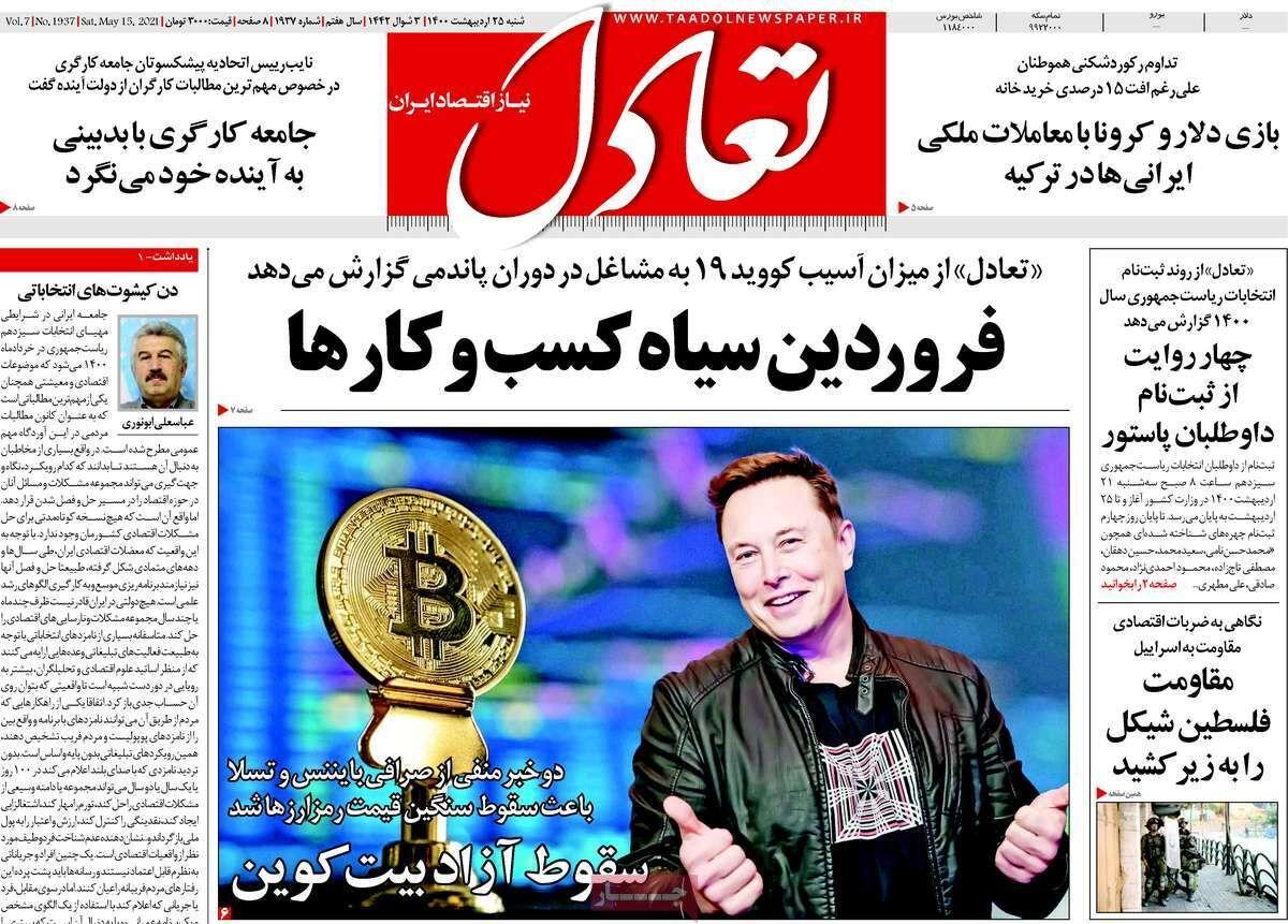 صفحه اول روزنامه های اقتصادی ۲۵ اردیبهشت ۱۴۰۰
