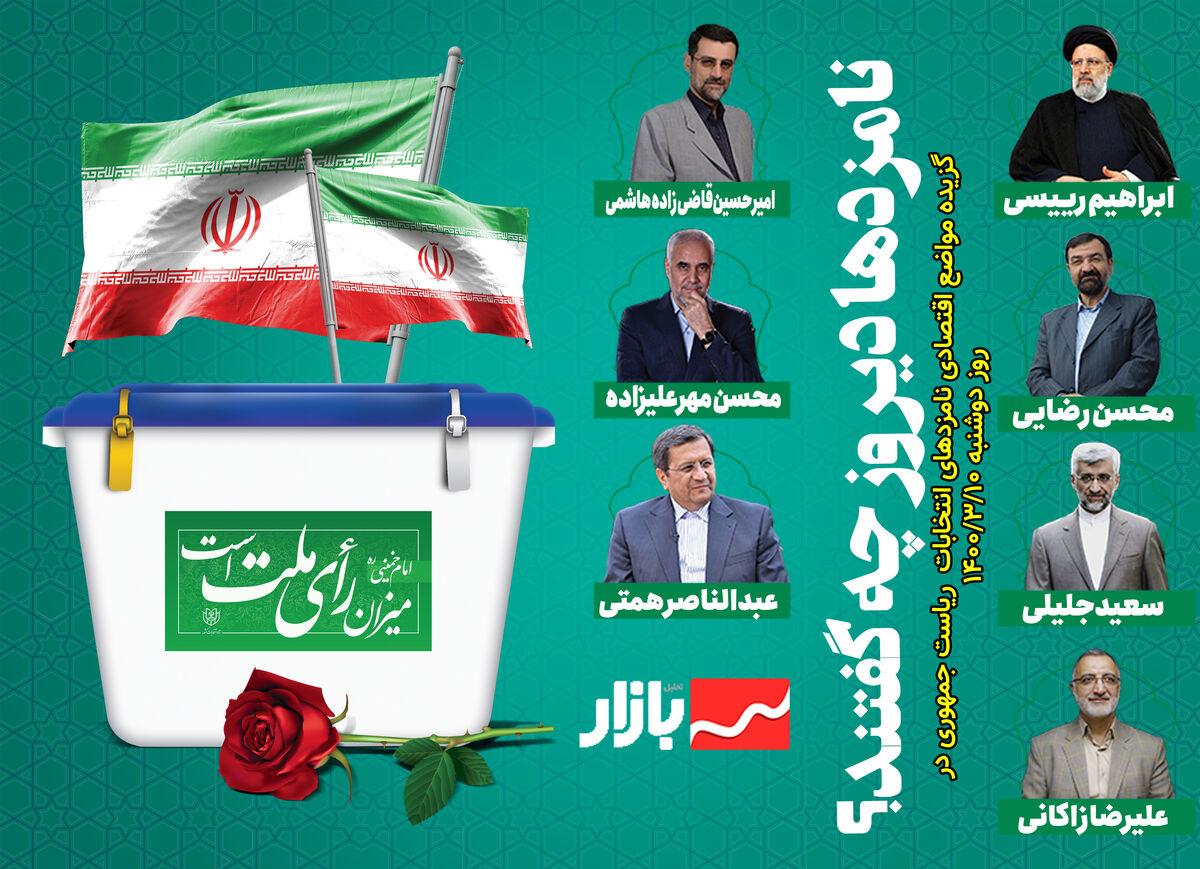 گزیده مواضع اقتصادی نامزدهای انتخابات ریاست جمهوری در دوشنبه ۱۰ خرداد ۱۴۰۰