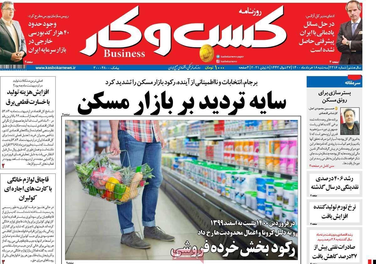 صفحه اول روزنامه های اقتصادی ۱۸ خرداد ۱۴۰۰