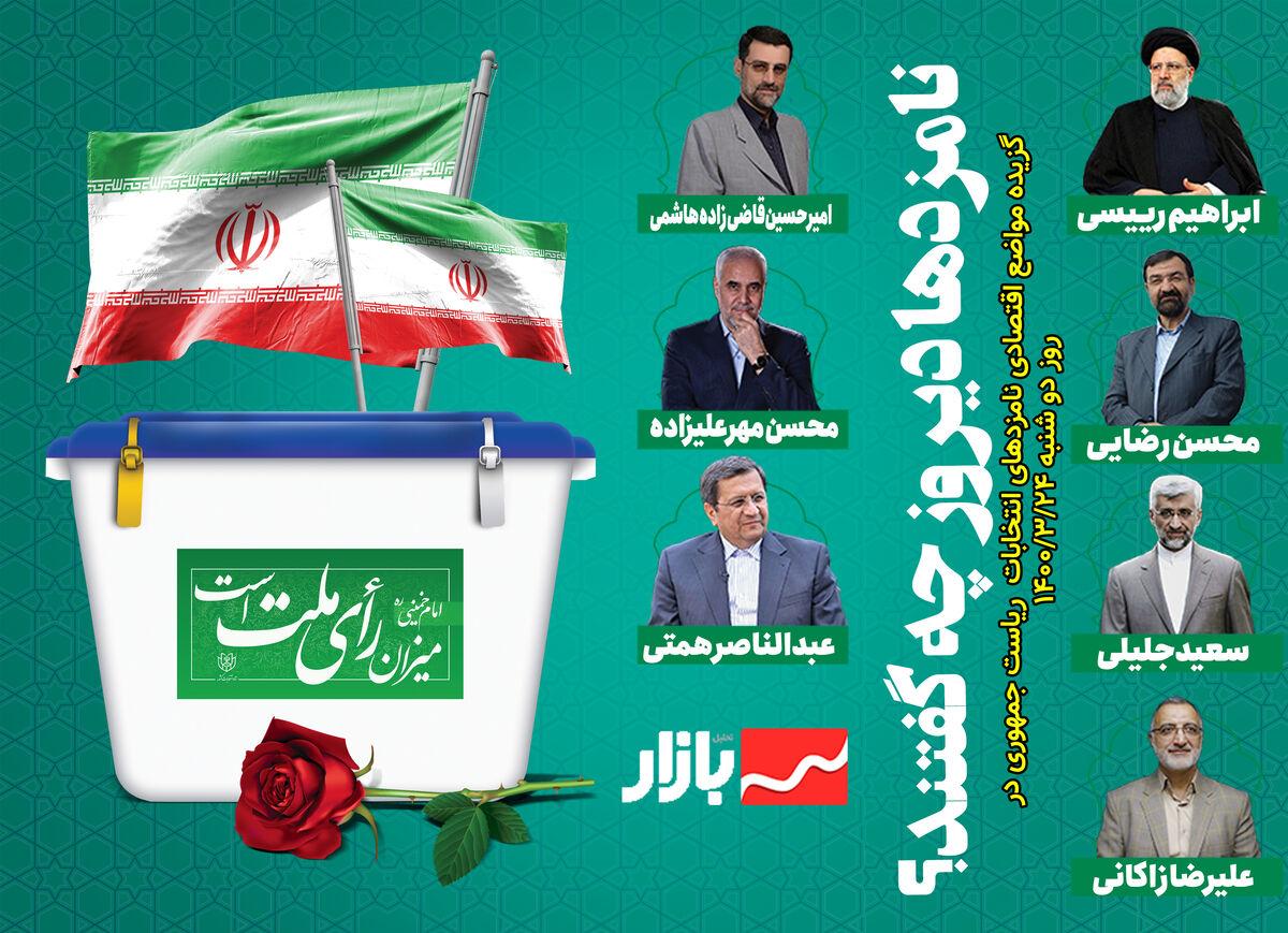 گزیده مواضع اقتصادی نامزدهای انتخابات ریاست جمهوری در دوشنبه ۲۴خرداد