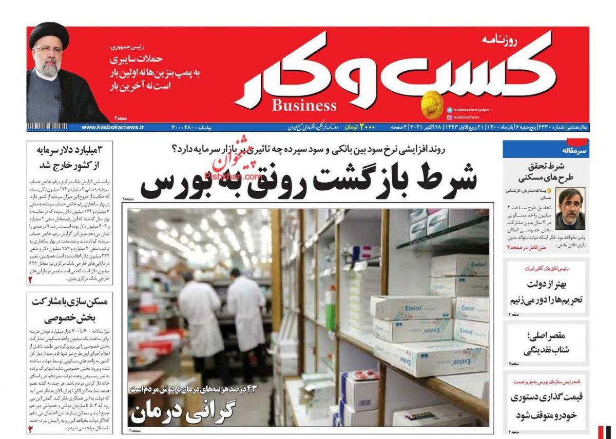 صفحه اول روزنامه های اقتصادی ۶ آبان ۱۴۰۰
